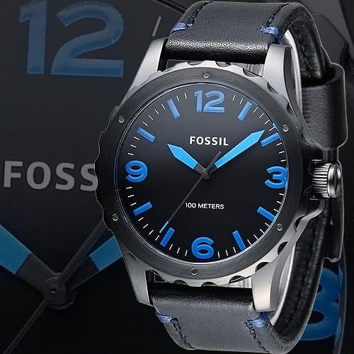 fossil黑騎士個性型男腕錶-黑/藍刻(jr1446)