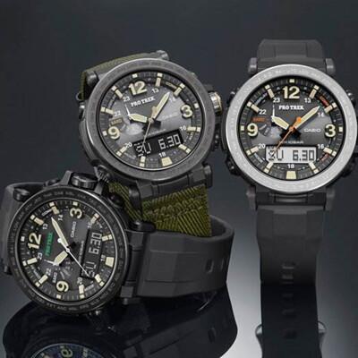CASIO PRO TREK 數字大刻度雙顯戶外運動登山錶-IP黑框(PRG-600Y-1D) (9折)