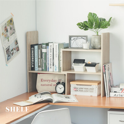 簡樸木色調可伸縮書架/桌上型/收納架/收納櫃/4色/N0071 (6.7折)