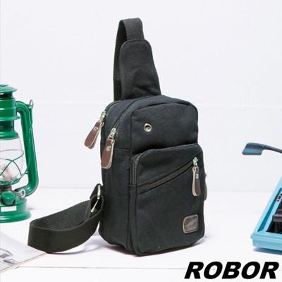 韓系型男 ROBOR原宿風帆布包單肩包單車包(黑色) (3.7折)