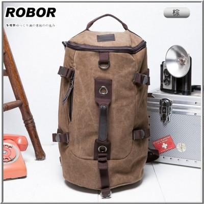 韓系型男 ROBOR衝鋒時尚多功能帆布筆電後背/旅行袋(棕色) (3.7折)