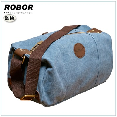 韓系型男 ROBOR摩登風潮長筒型休閒包/側背/斜背包(藍色) (3.5折)