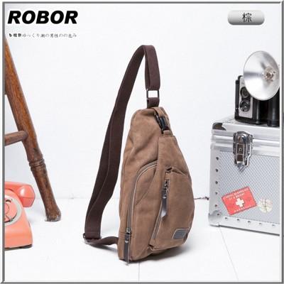 韓系型男 ROBOR奔馳時尚帆布包單肩包(棕色) (3.7折)