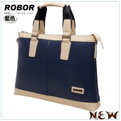 韓系型男 ROBOR北歐風情橫式商務公事包(可入11.6吋NB電腦)(皇家藍) (3.5折)