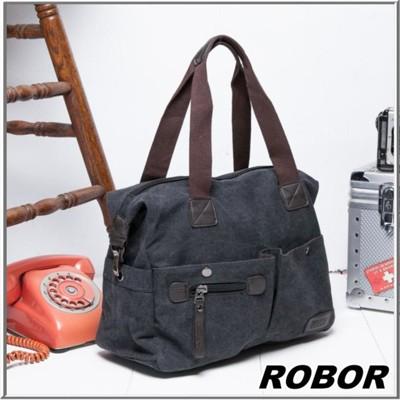 韓系型男 ROBOR法式時尚側背/手提/斜背三用包(黑灰) (3.7折)