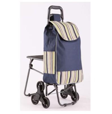 帶凳 六輪買菜籃車 小椅子 購物籃購物袋 拉桿買菜車 輕鬆爬梯車 三輪購物車 可爬樓梯 折疊手推車 (7.7折)