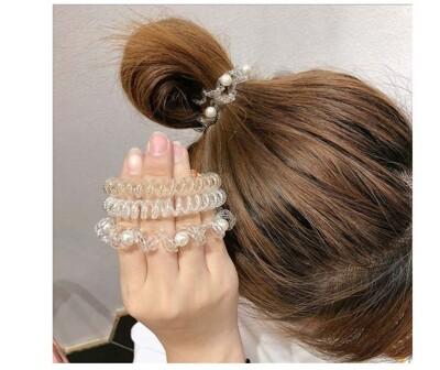 珍珠珠子編織透明電話線髮圈 東大門三股辮釘珠高彈力頭繩皮筋 高彈力電話線髮圈 電話繩髮圈 韓版髮束 (7.7折)