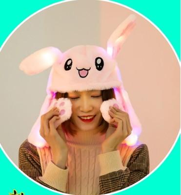 二代【發光會動兔子耳朵帽】粉/白抖音同款子會動長兔耳朵捏可愛毛絨氣囊聖誕節跨年生日派對表演交換禮物 (5.8折)