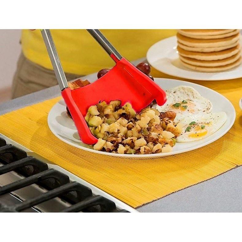 12吋二合一矽膠食物夾不銹鋼麵包夾多功能廚房小工具矽膠鏟食品夾