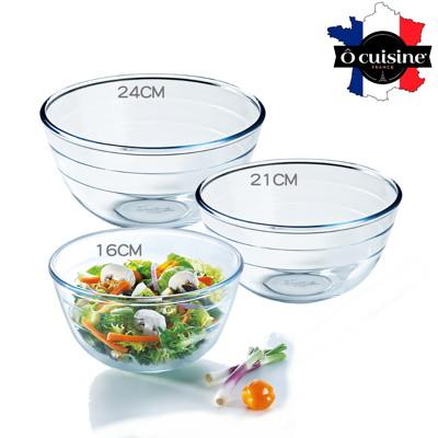 【法國O cuisine】歐酷新烘焙-百年工藝耐熱玻璃調理盆-24+21+16組合 (8折)