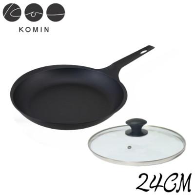 【日本KOMIN】職人手做超薄鑄鐵平底鍋24CM(送玻璃蓋) (8折)