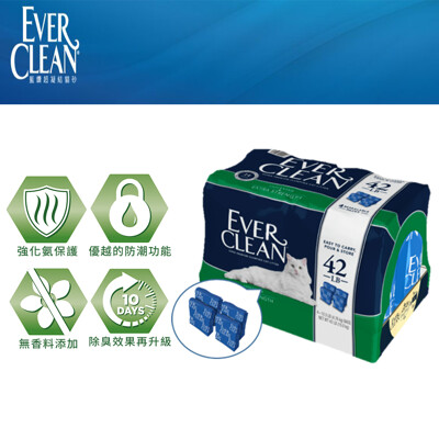 Ever Clean 藍鑽系列貓砂 藍標 強效無香低過敏 超凝結貓砂 42磅(4入裝) (7.6折)