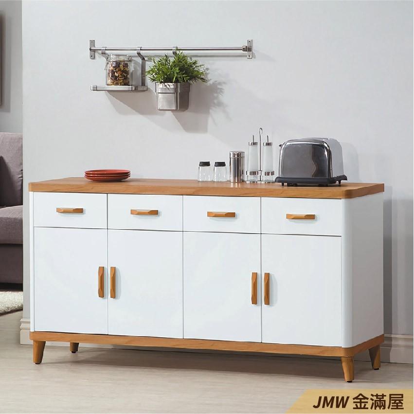 158cm北歐餐櫃收納 實木電器櫃 廚房餐櫥櫃 碗盤架 大理石金滿屋尺餐櫃-q710-4 -