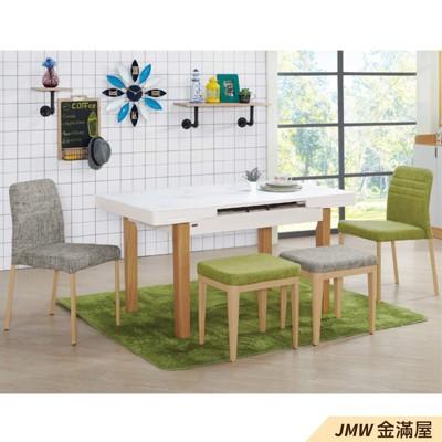 餐桌伸縮 長型餐桌組 北歐大理石桌子 圓形桌 方形收納摺疊桌 餐桌椅組【金滿屋】A857-2 (7.4折)