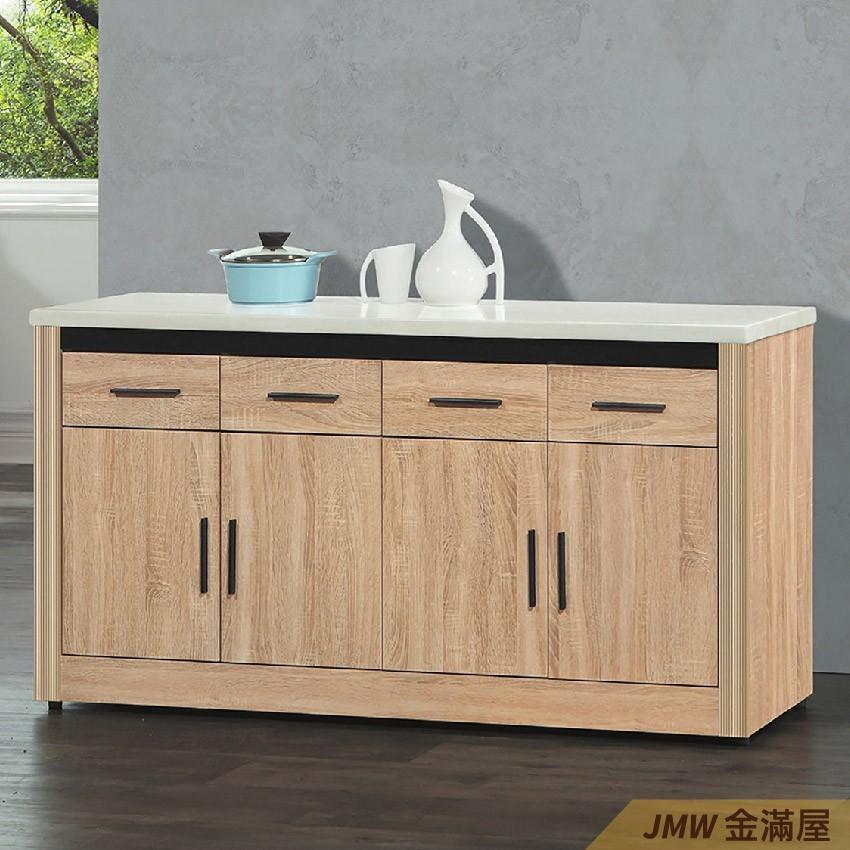156cm北歐餐櫃收納 實木電器櫃 廚房餐櫥櫃 碗盤架 大理石金滿屋尺餐櫃-q704-4 -