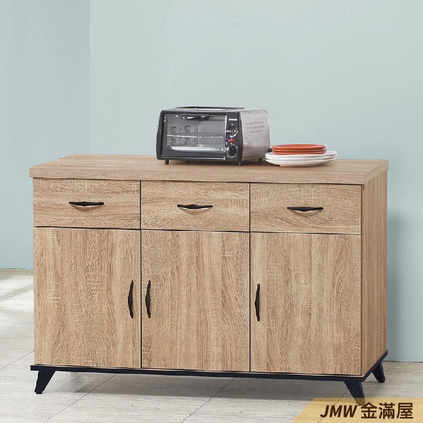 120cm北歐餐櫃收納 實木電器櫃 廚房餐櫥櫃 碗盤架 大理石金滿屋尺餐櫃-q707-5 -