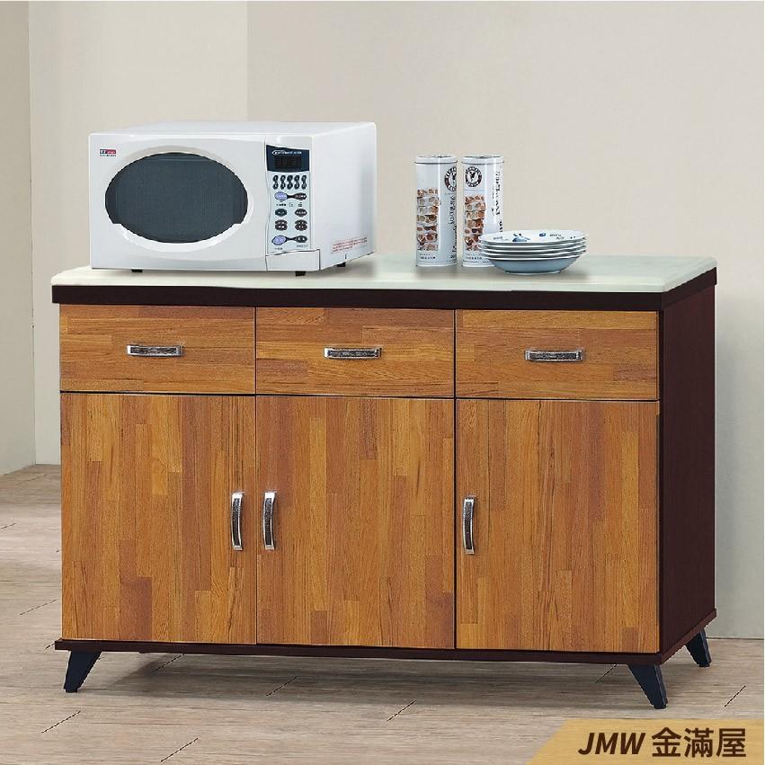 120cm北歐餐櫃收納 實木電器櫃 廚房餐櫥櫃 碗盤架 大理石金滿屋尺餐櫃-q719-4 -