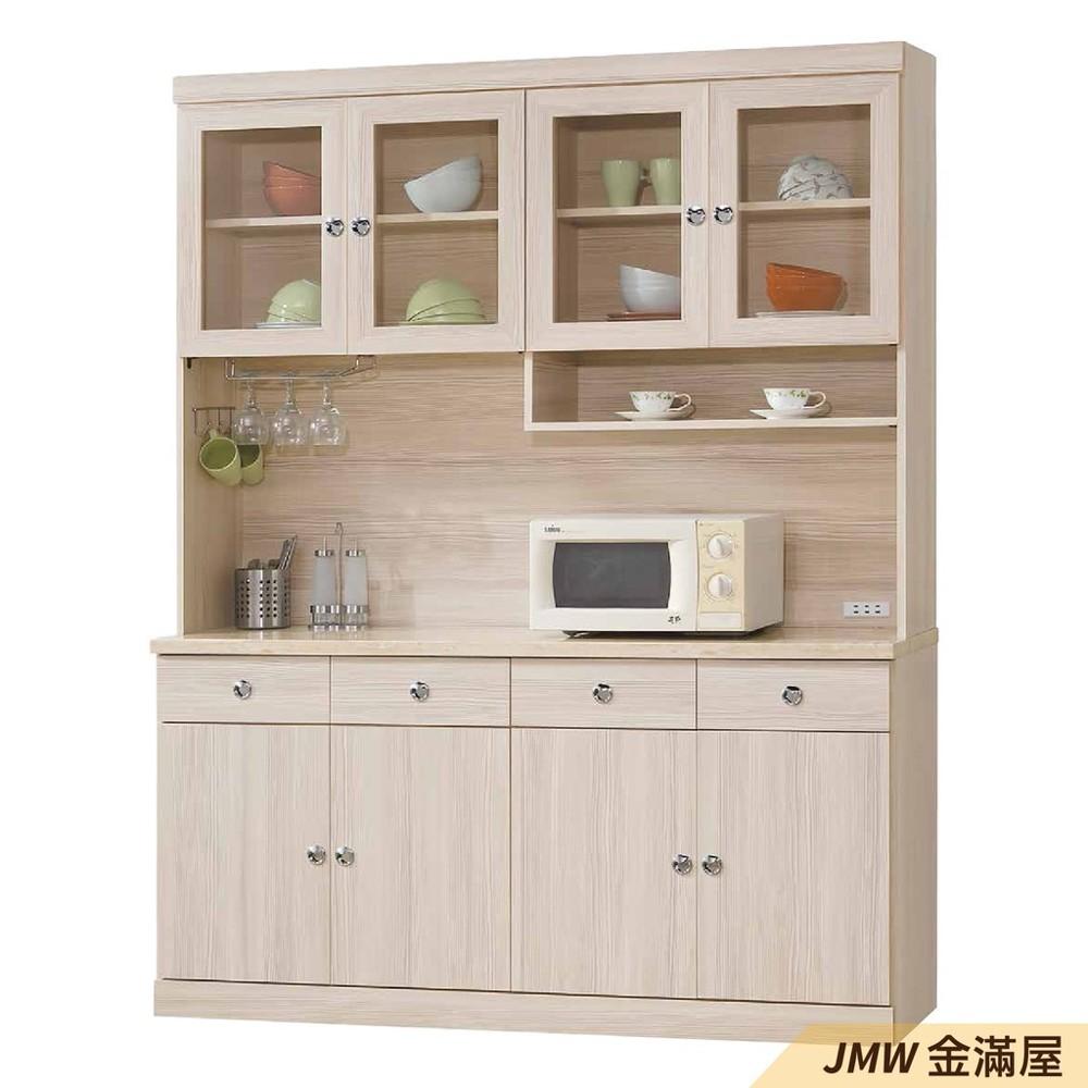 160cm北歐餐櫃收納 實木電器櫃 廚房餐櫥櫃 碗盤架 大理石金滿屋尺餐櫃-r333-1 -
