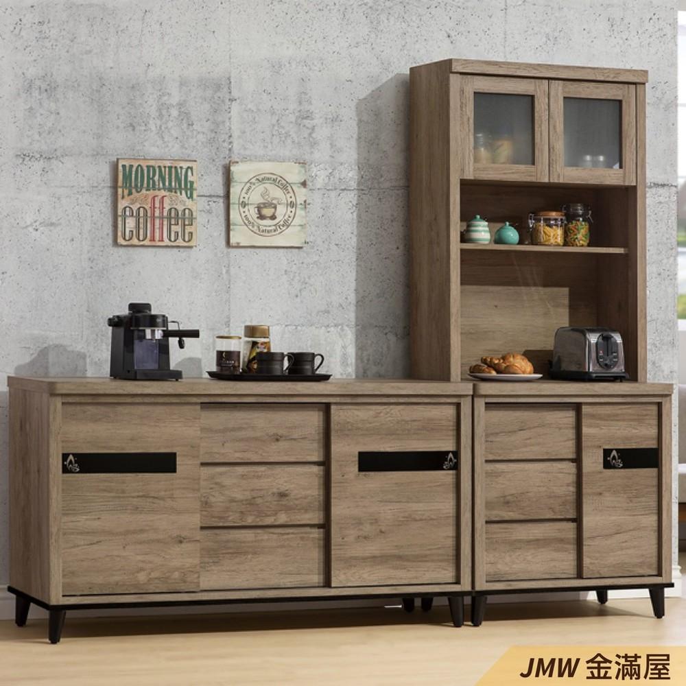 236cm北歐餐櫃收納 實木電器櫃 廚房餐櫥櫃 碗盤架 大理石金滿屋尺餐櫃-sh817-2