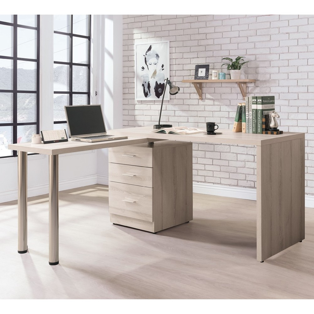 145.5cm旋轉書桌-b494-02工業風工作桌 書櫃型書桌 書桌加書櫃 金滿屋