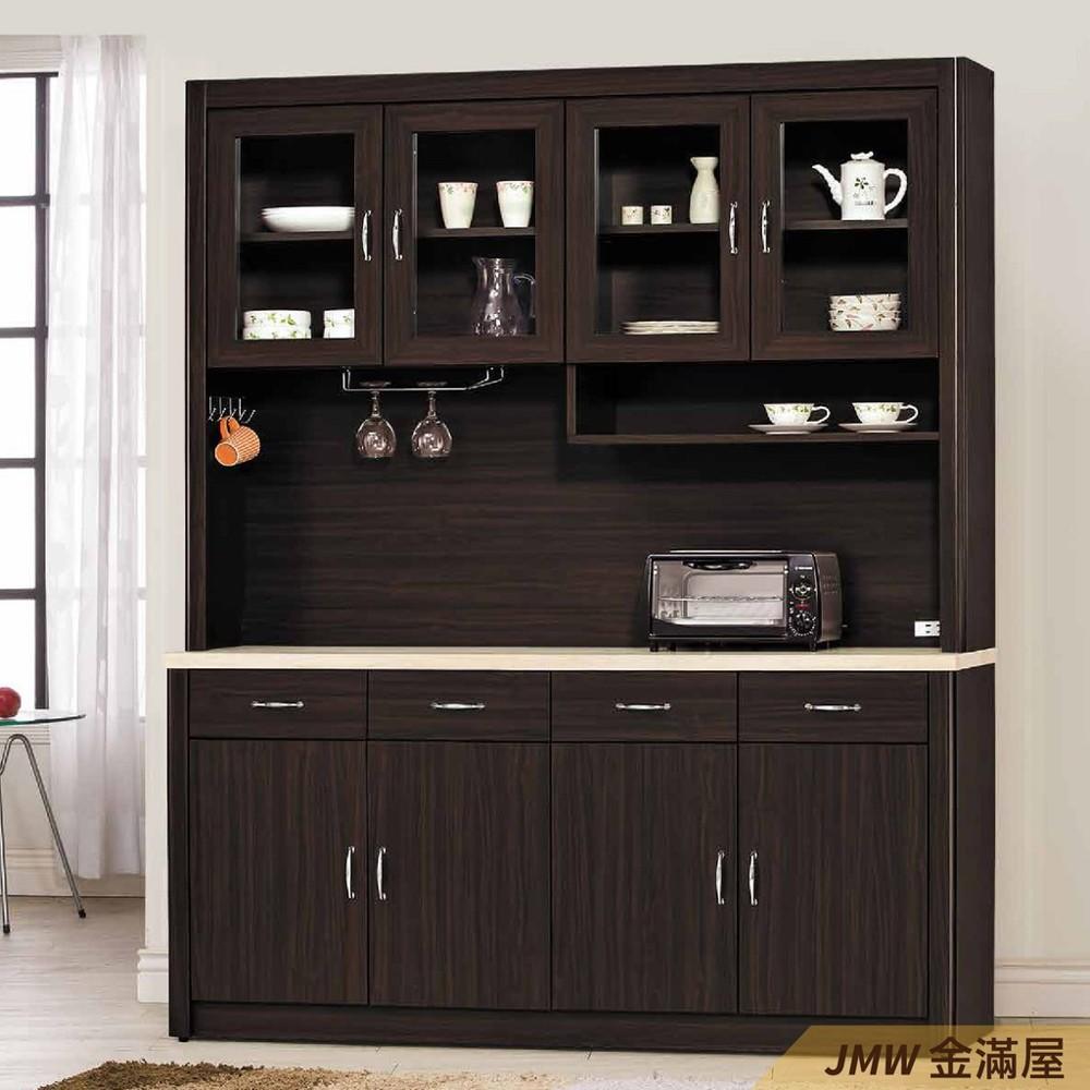 160cm北歐餐櫃收納 實木電器櫃 廚房餐櫥櫃 碗盤架 大理石金滿屋尺餐櫃-r331-1 -