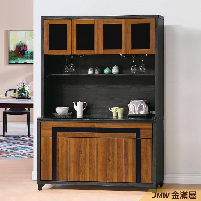 150cm北歐餐櫃收納 實木電器櫃 廚房餐櫥櫃 碗盤架 大理石金滿屋尺餐櫃-q717-1 -