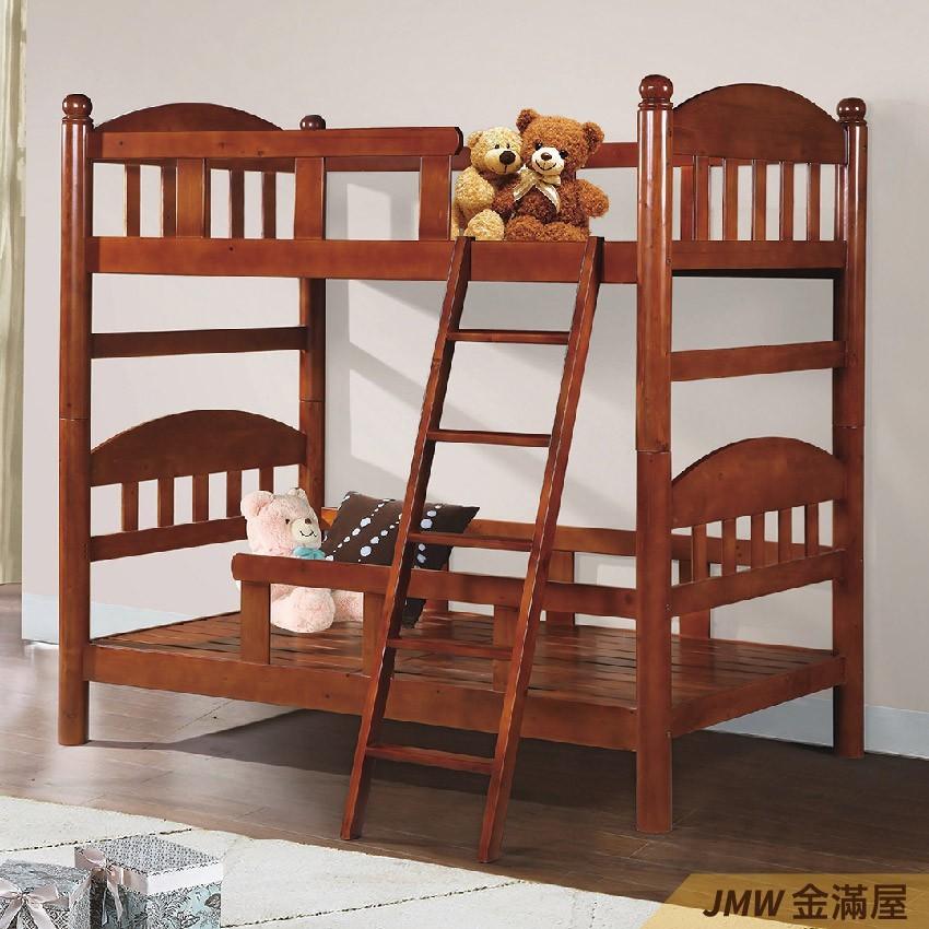 雙層床 上下舖 雙人5尺 標準單人 全實木 鐵床鋪金滿屋-q180-4 -