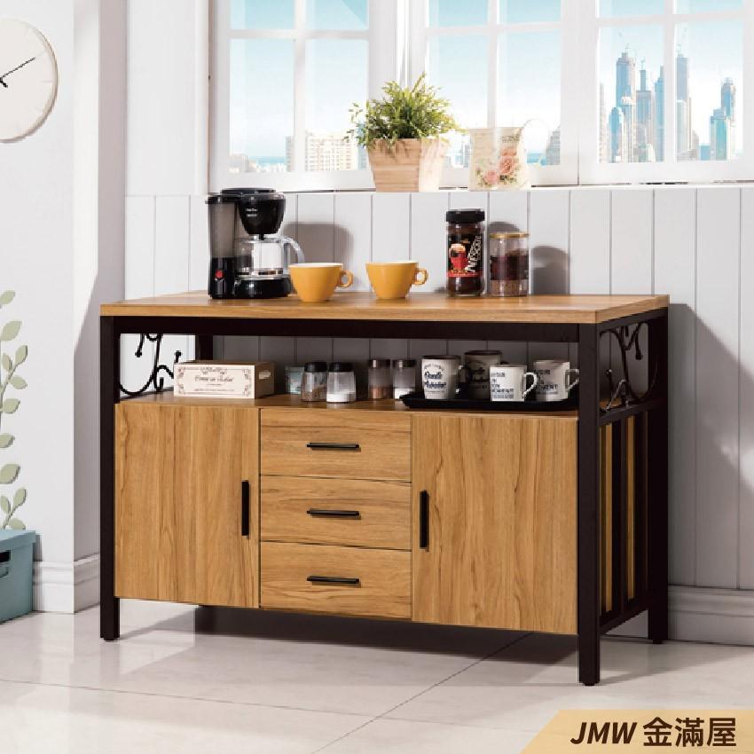 120cm北歐餐櫃收納 實木電器櫃 廚房餐櫥櫃 碗盤架 大理石金滿屋尺餐櫃-sh618-4