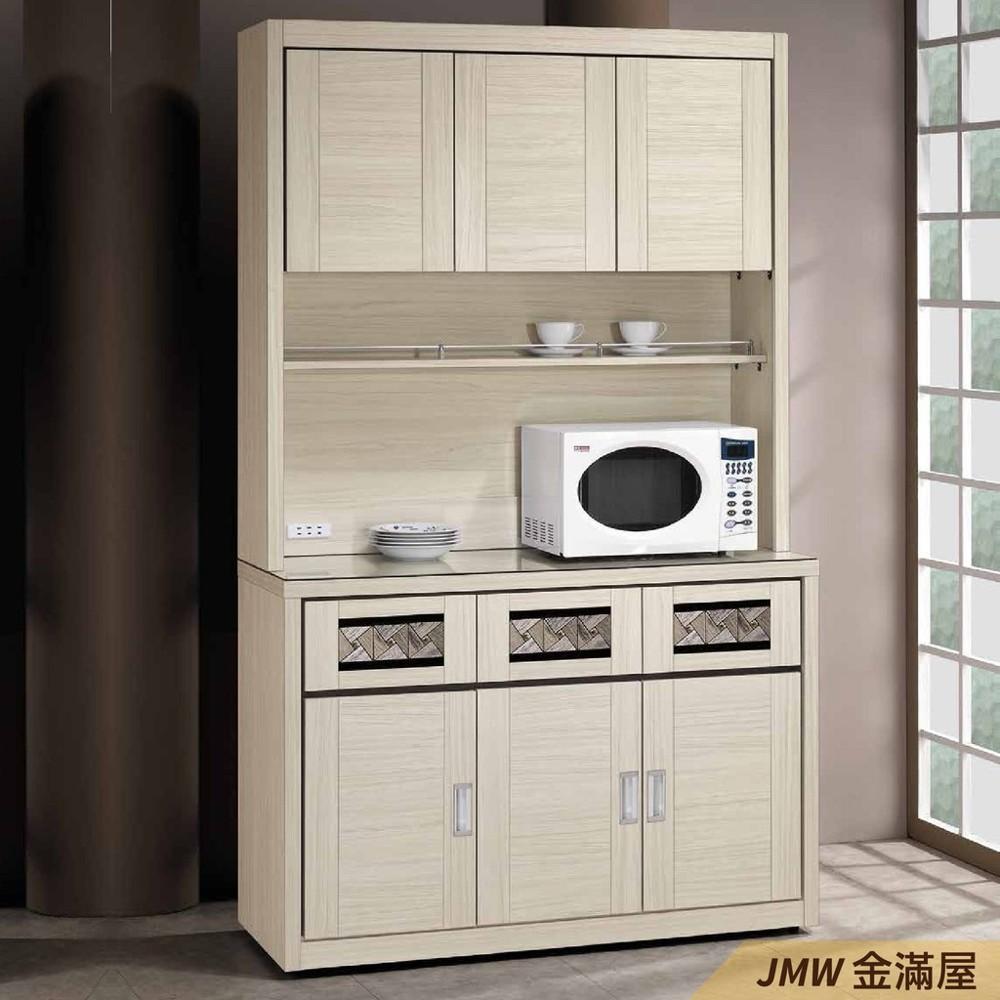 120cm北歐餐櫃收納 實木電器櫃 廚房餐櫥櫃 碗盤架 大理石金滿屋尺餐櫃-r316-1 -