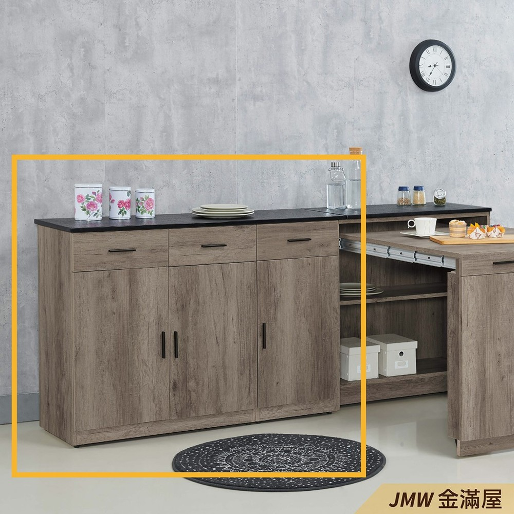120cm北歐餐櫃收納 實木電器櫃 廚房餐櫥櫃 碗盤架 大理石金滿屋尺餐櫃-r310-3 -