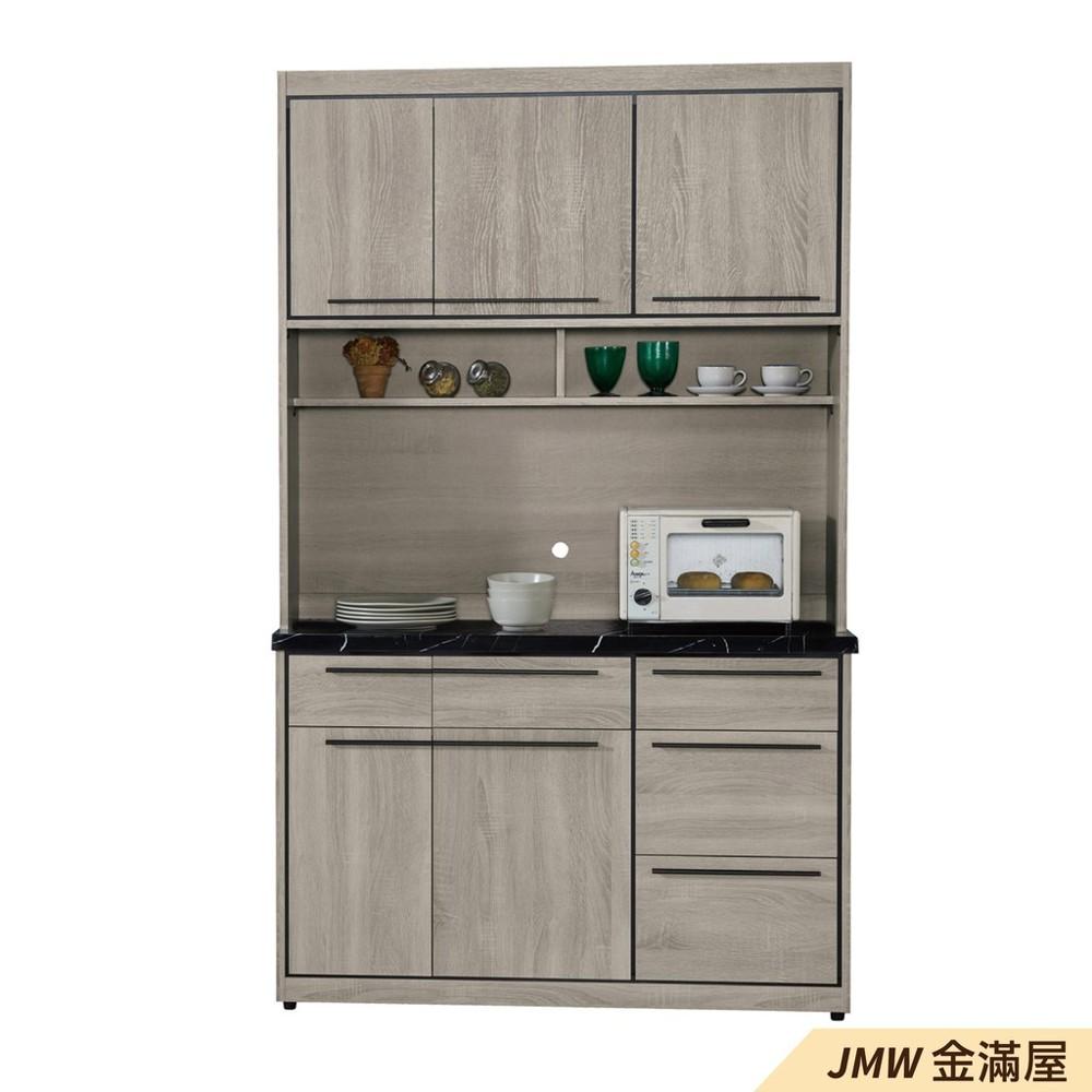120cm北歐餐櫃收納 實木電器櫃 廚房餐櫥櫃 碗盤架 大理石金滿屋尺餐櫃-sh808-3