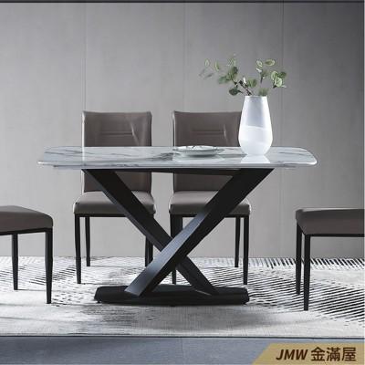 餐桌伸縮 長型餐桌組 北歐大理石桌子 圓形桌 方形收納摺疊桌 餐桌椅組【金滿屋】E738-5 (7.8折)