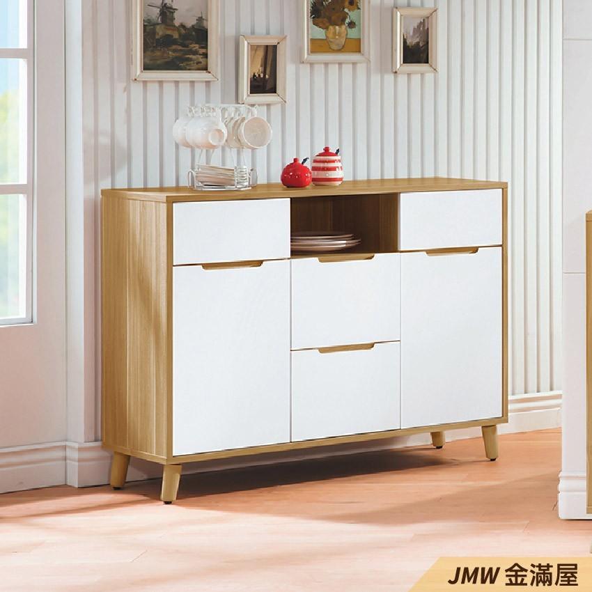 110cm北歐餐櫃收納 實木電器櫃 廚房餐櫥櫃 碗盤架 大理石金滿屋尺餐櫃-q732-1 -