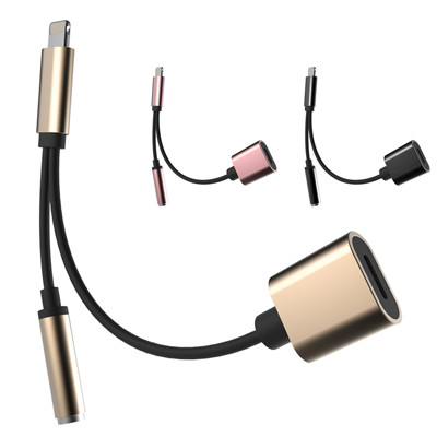 新款支援耳機線控!! 聽音樂邊充電 APPLE 接頭轉 3.5mm耳機孔與充電 耳機轉接線 (5折)