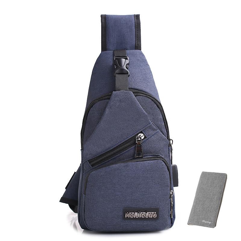 usb胸包  附usb線 韓系休閒男士側背包 男用斜背包 旅行充電接口單肩包
