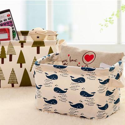森林系棉麻收納盒 桌面收納 辦公收納 小物收納 文具收納 (3折)