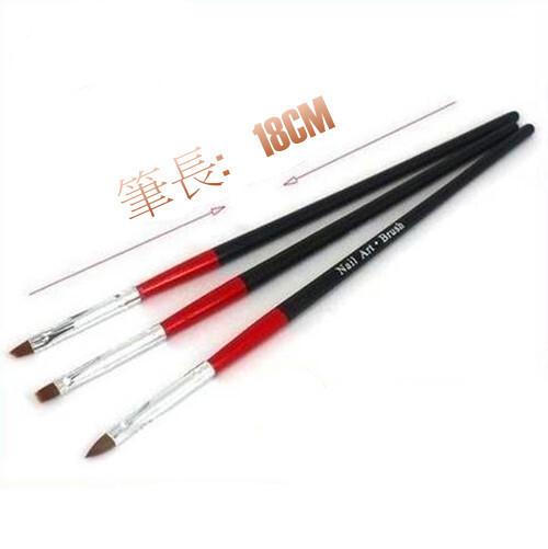 美甲彩繪 筆 3支一套 黑桿紅身 指甲 畫花 繪畫 美甲 筆 美甲材料  現貨供應  ~l-13