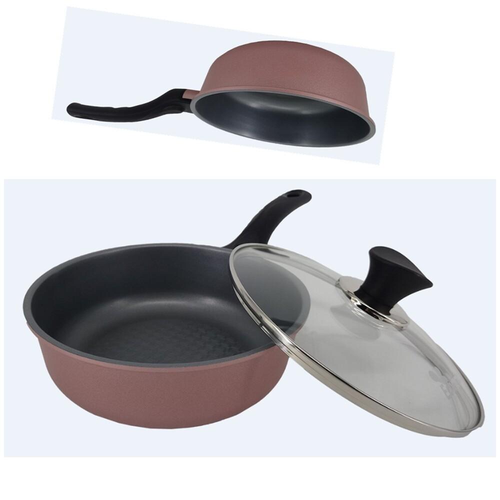 韓國ecoramic鈦晶石頭抗菌不沾鍋- 20cm小家庭萬用鍋 (含鍋蓋)