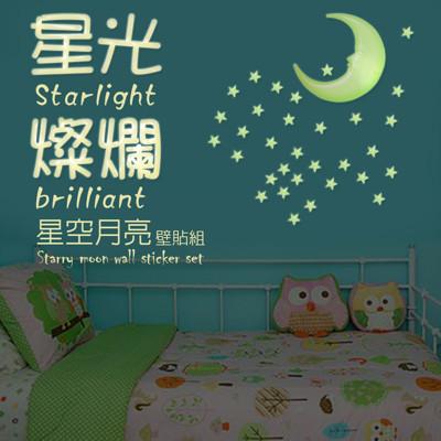 金德恩 台灣製造 6組精裝版3D星彩夜光壁貼/50顆星星+1月亮/組 (5.5折)