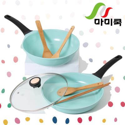 【韓國mami.cook】陶瓷晶鑽浪漫不沾鍋7件組(雙鍋特惠組 蒂芬妮原廠限定色號) (2.4折)