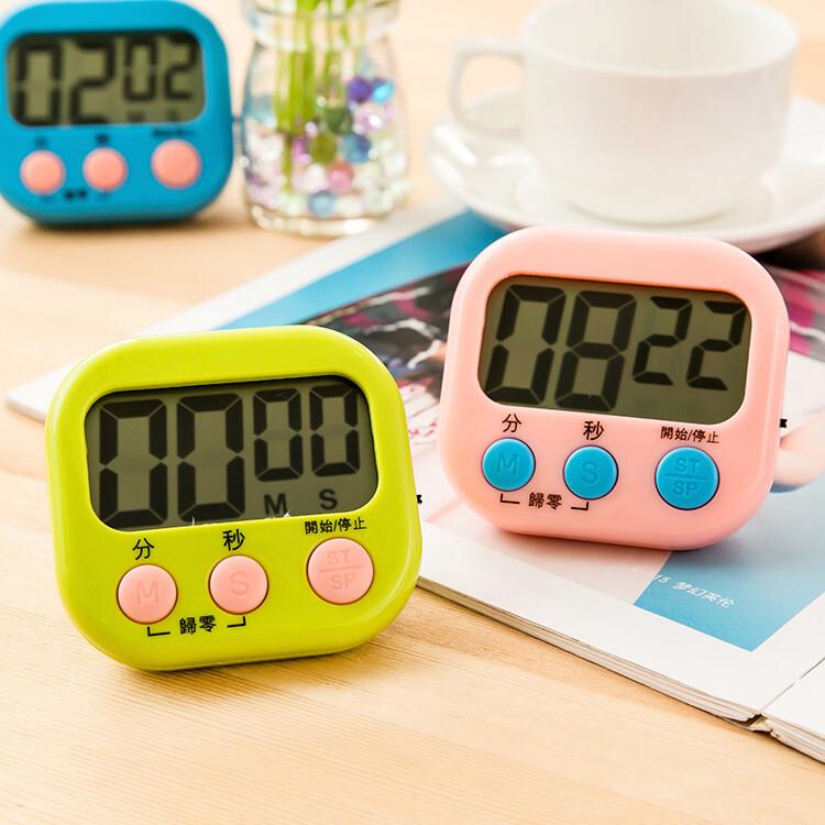 大螢幕! 磁吸式! 電子計時器 廚房計時器 正負倒計時 鬧鐘計時器 馬卡龍色 多功能計時器 記時器