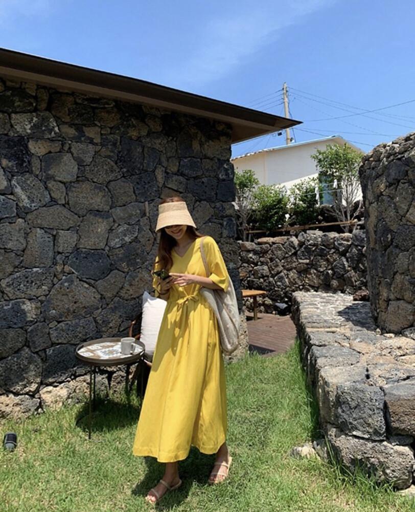 meimei 韓版休閒棉麻洋裝
