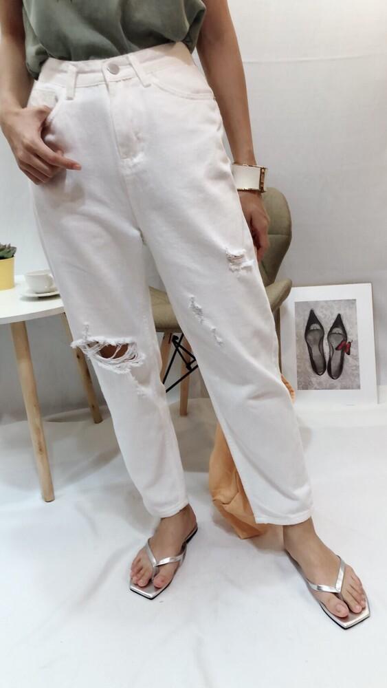 meimei 白色簡約刷破男友褲