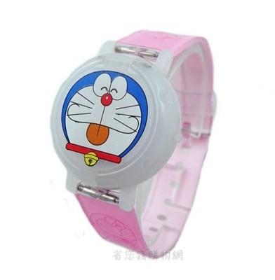 《省您錢購物網》全新~哆啦A夢Doraemon 小叮噹圓形掀蓋式跑馬閃光電子錶-(粉紅色*2支) (4.5折)