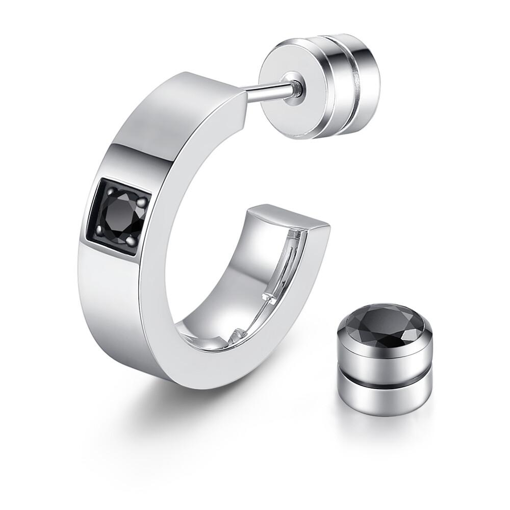 achicat 鋼耳環 一心愛你 c型耳環 栓扣式耳環 鋼情侶耳環 銀色 單邊單個價格 g5021