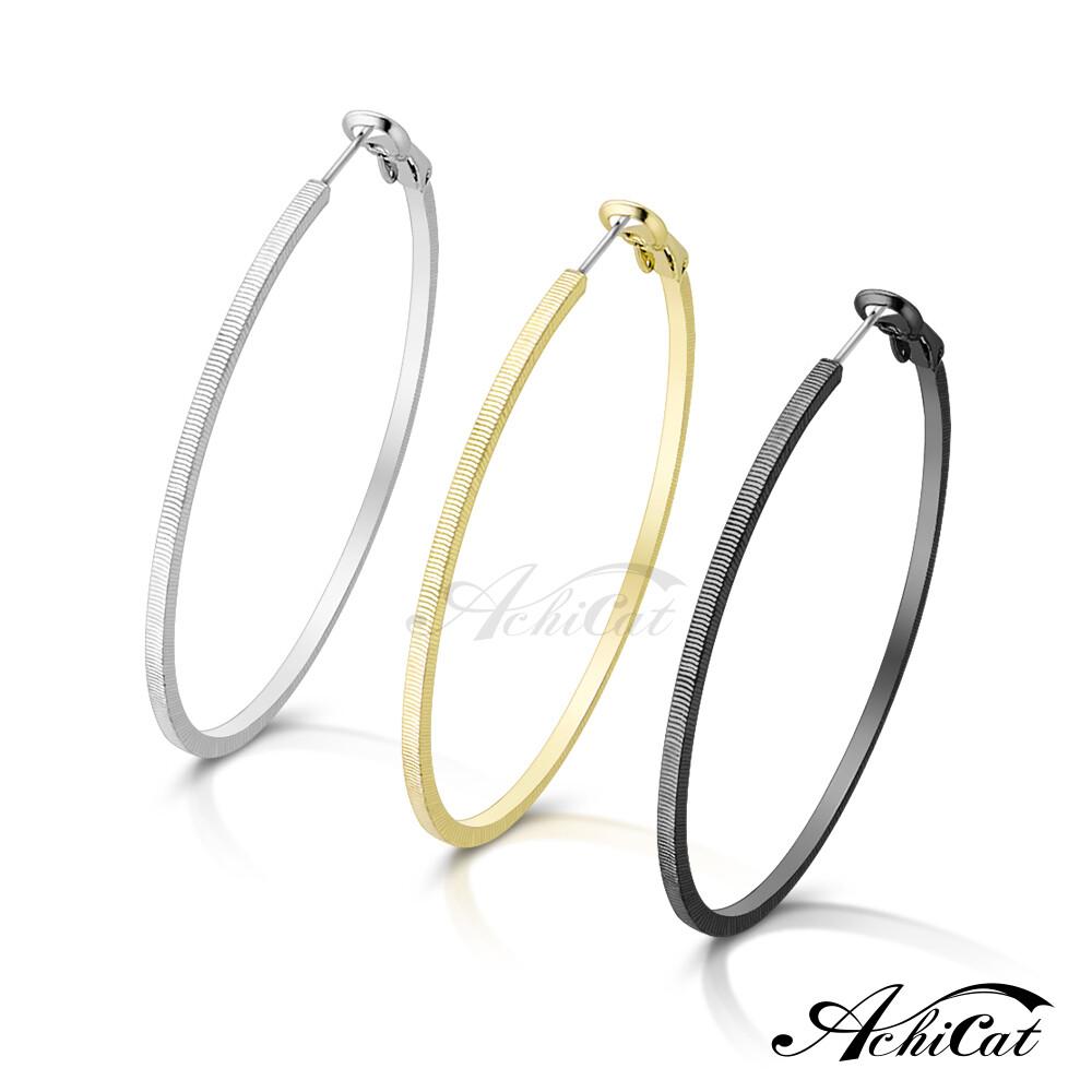 achicat 耳環 正白k 簡約大圈圈 細橫紋耳環 女耳環 抗過敏鋼耳針 一對價格 g20011
