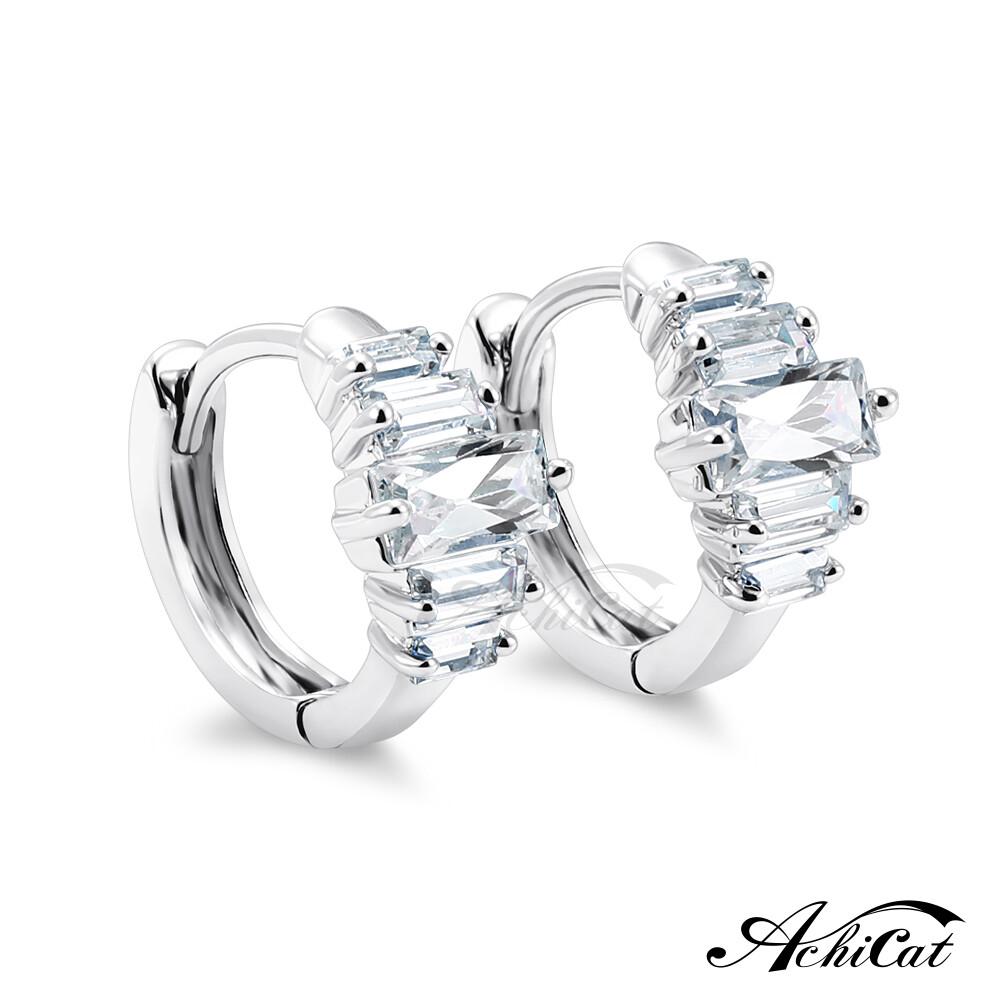 achicat 耳環 正白k 亮麗晶鑽 易扣耳環 耳針式 銀色款 一對價格 g7019