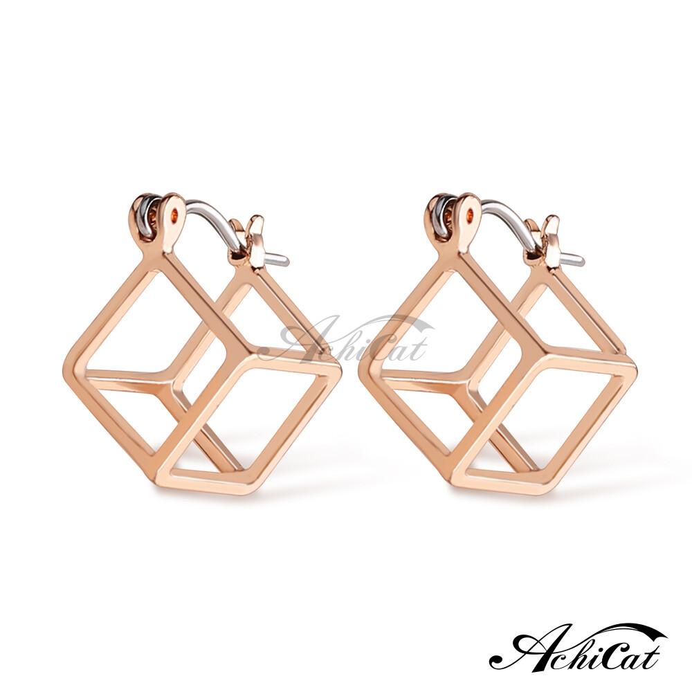 achicat 耳環 正白k 幾何空間 鏤空立體正方形 耳針式 抗過敏鋼耳針 一對價格 g7059