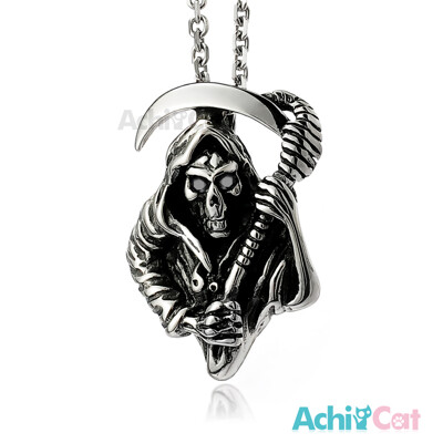 AchiCat 鋼項鍊 奪命使者 死神骷髏項鍊 白鋼項鍊 C1398 (3.3折)