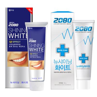 【韓國2080 白淨特惠組】三重美白修護牙膏100g+潔白牙膏120g+贈White glo牙刷 (5.8折)